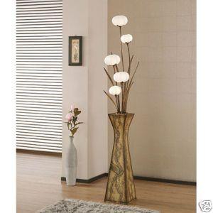 Unusual Elegant Paper Lampshade Art Deco Chic White Shade Floral Tall Floor  Lamp
