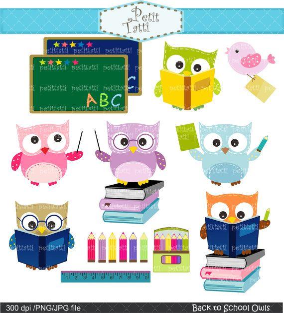 owl clip art , Digital clip art  for all use, Back to school, school owls clip art, classroom, study, education. $4.80, via Etsy.