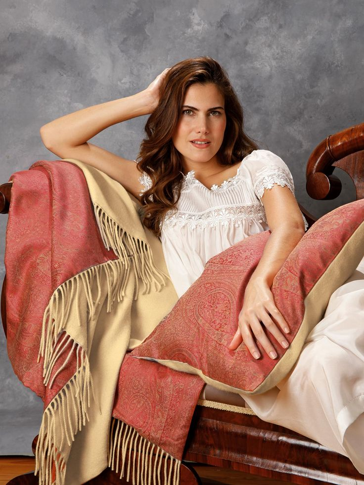 Nobility Throw & Pillow - Luxury Throws - Schweitzer Linen  Turning fantasy into reality, this marvelous reversible throw and decorative pillow meets your highest aspirations with an aristocratic coupling of jewel-like Red and Gold paisley, 500 thread count Egyptian cotton damask and pure cashmere in solid Gold. Finely made in the USA (of imported materials) with fringed ends. Decorative pillow is filled with 95% feathers, 5% down.