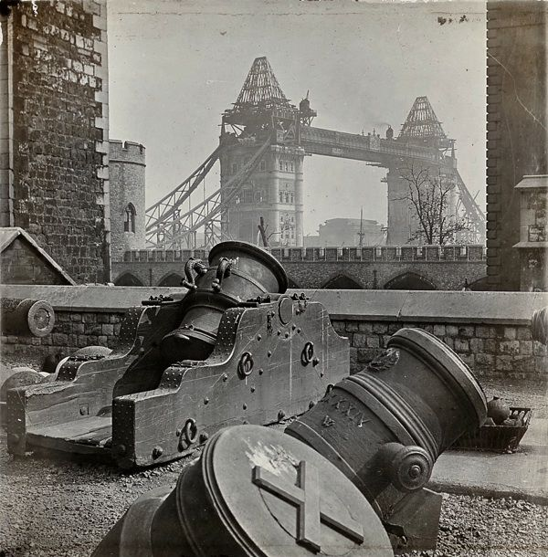 Tower Bridge under construction seen from the Tower of London, ca. 1886-1894