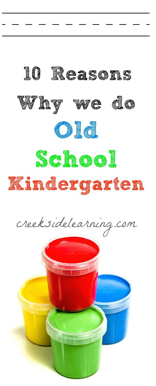 "Homeschool Kindergarten:  ""We rarely use worksheets.  I don't push them to read. Or to practice handwriting. Or  skip count. And you know what? This isn't a brand new concept. I am not a radical unschooler with my children's kindergarten education. This is old school kindergarten."""