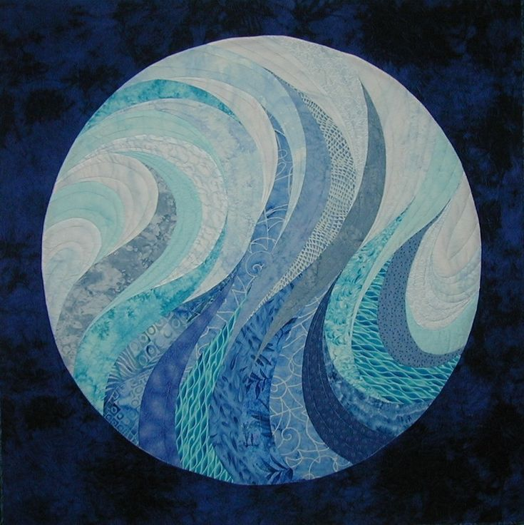 """""""Once in a Blue Moon""""  wall hanging quiltQuilt Blue, Art Quilt, Big Swirls, Circles Quilt, Moon Art, Mosaics Ideas, Moon Quilt, Blue Moonthequiltshow, Circle Quilts"""
