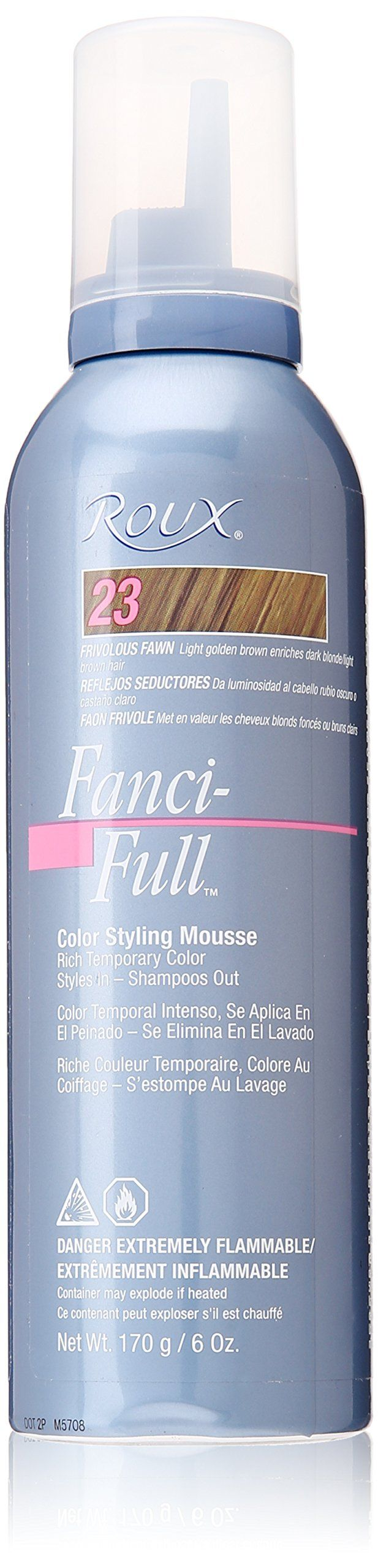 Roux Fanci-Full Mousse, 23 Frivolous Fawn, 6 Fluid Ounce. Rich temporary color for light golden brown hair. Styles in and shampoos out. It keeps color looking its best between color treatments.