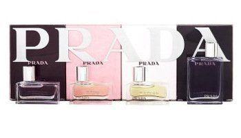 PRADA COFFRET for Men/Women - 4 piece Miniature Gift Set by PRADA. $59.95. 4 piece Miniature Set: Prada Intense (Women) 7 ml Eau de Parfum + Prada (Women) 7 ml Eau de Parfum + Prada Tendre (Women) 7 ml Eau de Parfum + Prada Pour Homme (Men) 9 ml Eau de Toilette. 4 piece Miniature Set: Prada Intense (Women) 7 ml Eau de Parfum + Prada (Women) 7 ml Eau de Parfum + Prada Tendre (Women) 7 ml Eau de Parfum + Prada Pour Homme (Men) 9 ml Eau de Toilette
