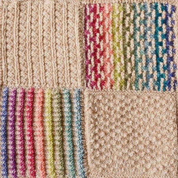 Frankies tæppe 1-4. De 4 første firkanter i Frankie Browns årstæppe. Du vil få 4 nye om måneden. Kan også bruges til klude eller syet sammen til et tørklæde. I akryl/uld på ca. pinde 4.