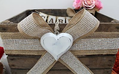 Vintage Wooden Wedding Card HEART Post Box ~ Rustic Bushel Crate ~ Shabby Chic!