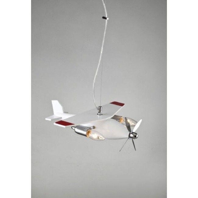 Avonni Ahşap Uçak Modelli Çocuk Odası Avizesi - AV-1366-BBY