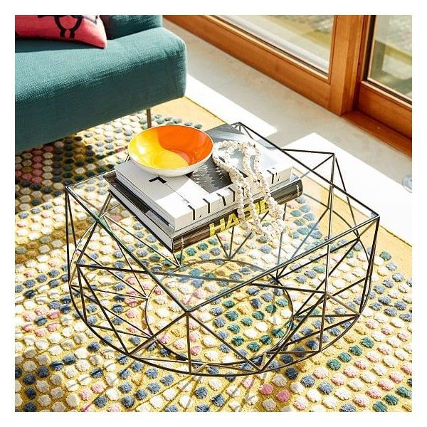 West Elm Indigi Coffee Table, Glass / Black (86.795 HUF) ❤ liked on Polyvore featuring home, furniture, tables, accent tables, black furniture, black glass coffee table, glass coffe table, black glass table and glass accent table