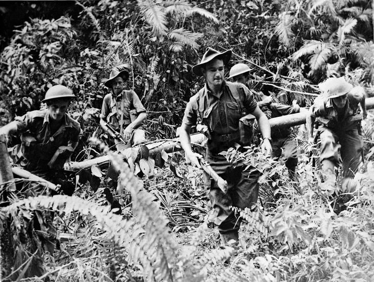 Australian troops near Lae during the offensive against the Japanese