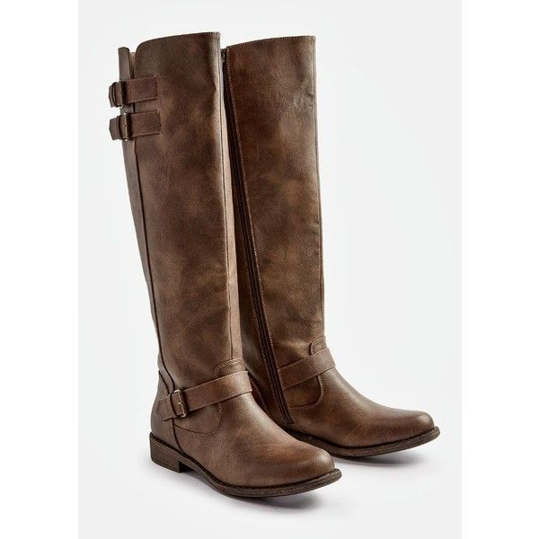 Justfab Flat Boots Jurnee Flat Boot ($40) ❤ liked on Polyvore featuring shoes, boots, brown, faux leather knee high boots, wide calf tall boots, brown flat boots, brown boots and brown wide calf boots