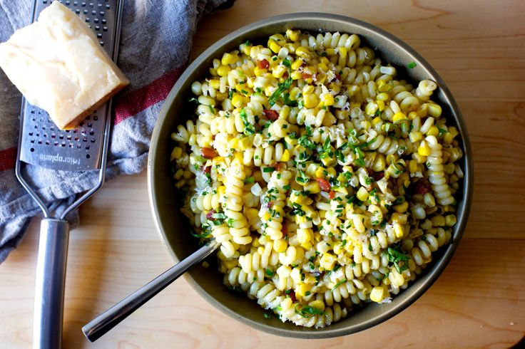 bacon corn and parmesan pasta