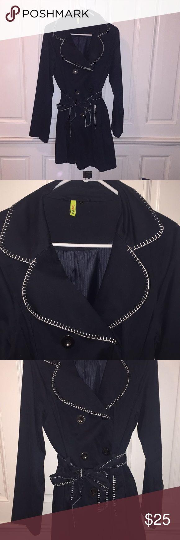 Women's Navy Rain Coat Light weight Navy Rain/Trench Coat Jackets & Coats Trench Coats