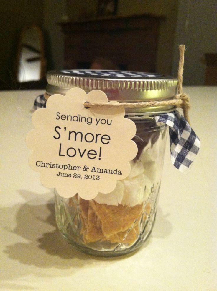 pinterest mason jar bridal shower favors%0A S u    mores jars wedding favors
