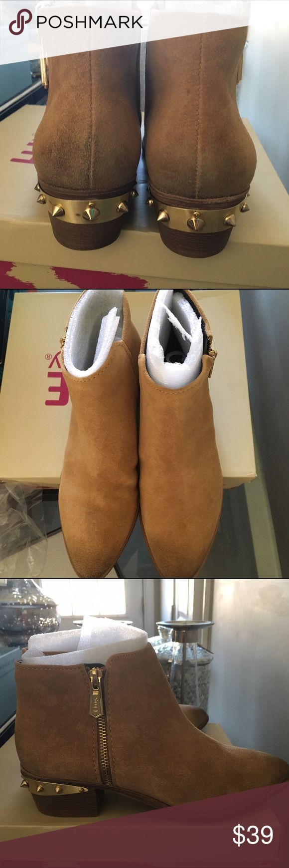 NEW, SIZE 8 CIRCUS BY SAM EDELMAN STUDDED BOOTIES BRAND NEW SUEDE CAMEL COLOR BOOTIES WITH GOLD STUDS ALONG HEEL~VERY COOL! SIZE 8. RETAIL $100. SAVE BIG!!! Sam Edelman Shoes Ankle Boots & Booties