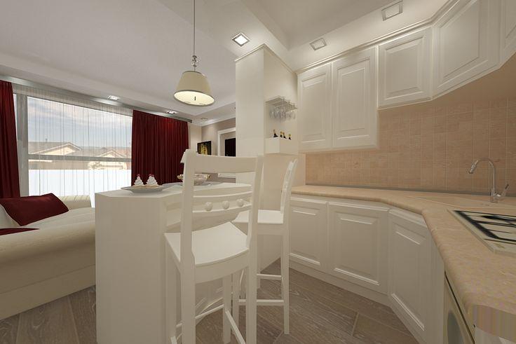 Design interior living cu bucatarie open space realizat pentru apartament de lux in Constanta .Proiectare mobila bucatarie clasica de lux import Italia.