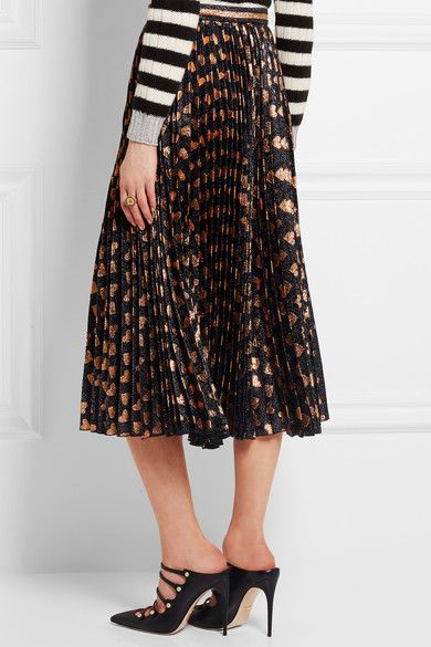 Gucci - Pleated Printed Lamé Skirt - Black - IT36