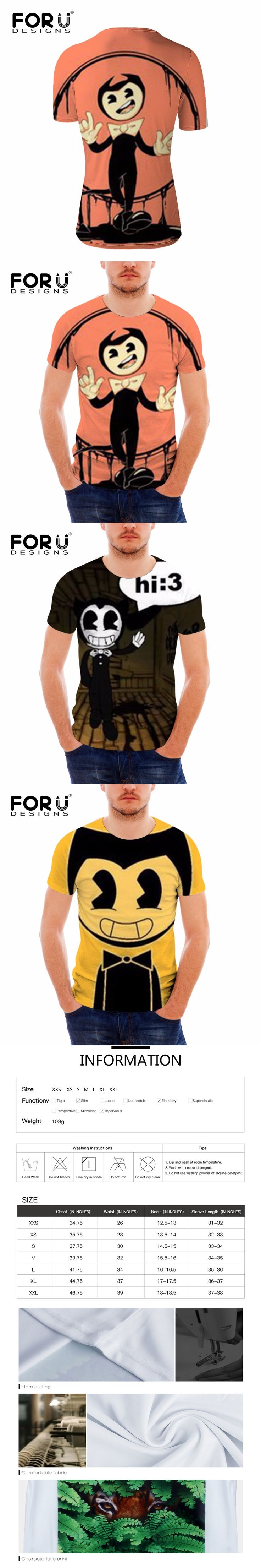 FORUDESIGNS Man's Short T-Shirt Male O-Neck Short sleeve tshirt man Cool dean ambrose bendy and the ink machine Casual t-shirt L
