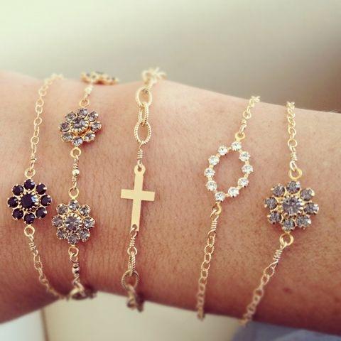 Gold Bracelets, Black Flower, Delicate Bracelets, Arm Bracelets, Dainty Bracelets, Arm Candies, Delicate Arm, Delicate Raymond, Crosses Bracelets