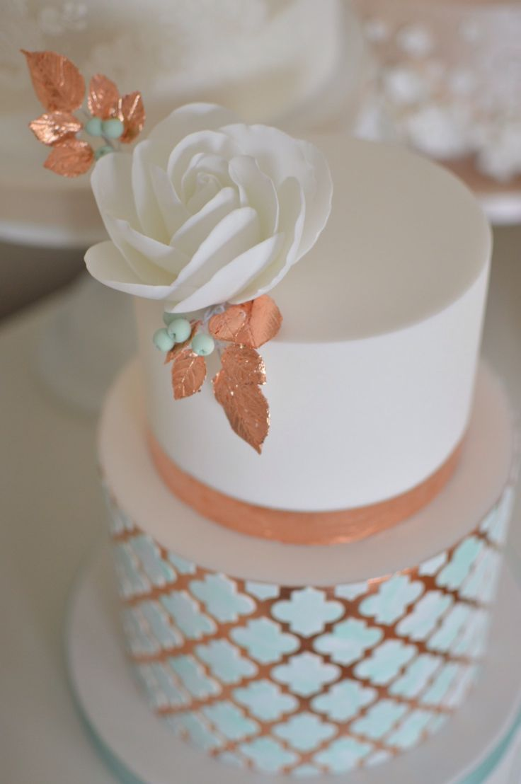 Copper leaf, Moroccan inspired geometric wedding cake by Cake Couture NI