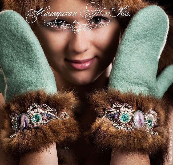 """Купить Валяные варежки с манжетами из соболя """"Северное сияние"""" - мятный, валяные рукавички, валяные варежки"""