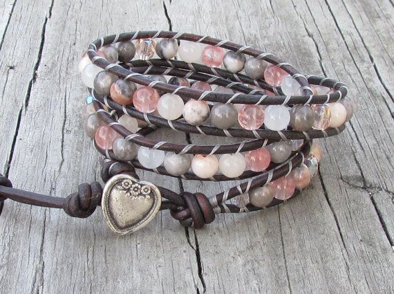 3X Leather Wrap with Pink Zebra Jasper, Cherry & Snow Quartz, Peach Aventurine, Czech glass, natural grey leather cord
