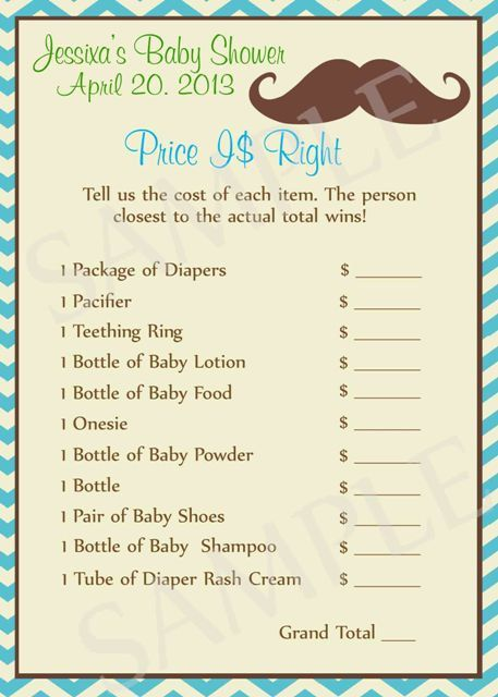 Mustache Baby Shower Games. Sure it could be made diff for a girl too!