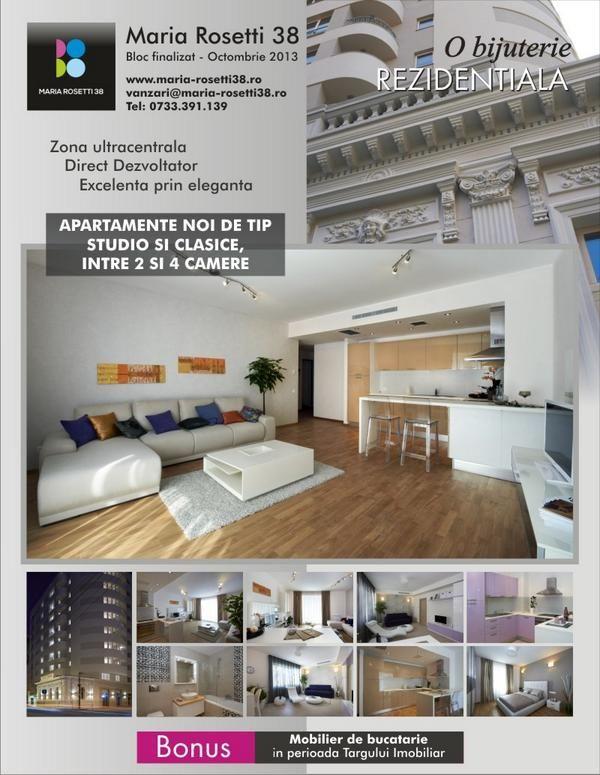 Vanzare garsoniere si apartamente noi de lux in ansamblul Rezidential Maria Rosetti 38 - Anunturi imobiliare Twitter. www.anuntulimobiliar.ro