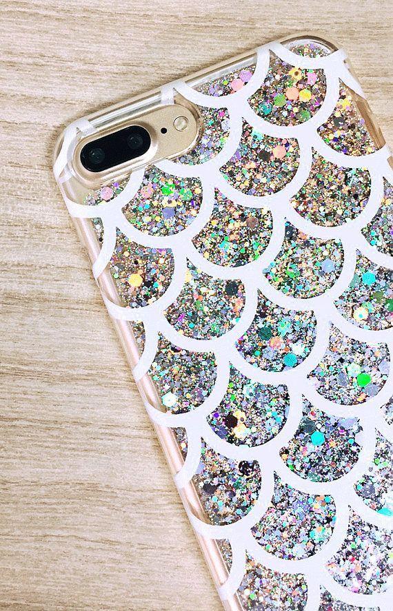 Silver Glitter iPhone Case Mermaid Scales iPhone 8 Plus #SilverGlitter