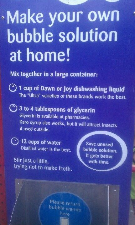 Bubble recipe from ecotarium!