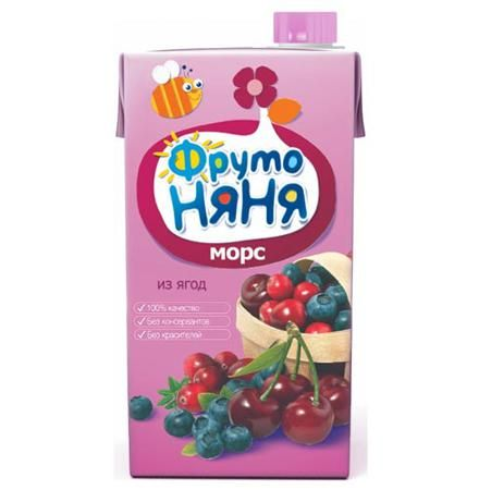 ФрутоНяня Морс из ягод с 3 лет, 500 мл (тетра пак)  — 55р. -----  ФрутоНяня Морс из ягод с 3 лет, 500 мл (тетра пак)   Вишня богата пектином, витаминами А, С, РР, а также органическими кислотами. В плодах вишни много ценных минеральных веществ, таких как медь, калий, железо, магний. Высокое содержание железа, витамина С и фолиевой кислоты полезно для профилактики анемии. Клюквенный сок и морс дают лихорадящим больным при гриппе, ангине, инфекционных заболеваниях. В чернике много цинка и…