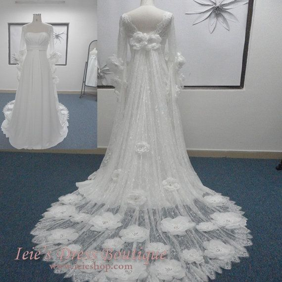 Vintage Retro Medieval Inspired Waterlilly Wedding Dress  by ieie, $689.95