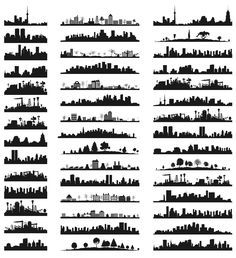40 Famous City Landmark Silhouettes ( to use with nightlights) ( glass bottles,cans, lampshade,etc.) - also wood burning ideas-