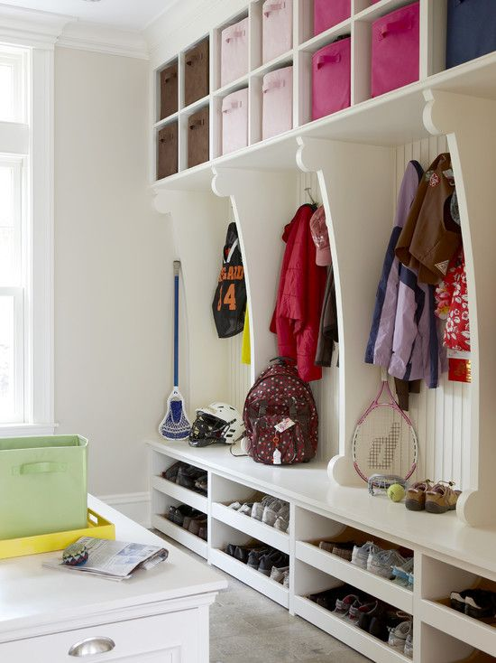 Good idea for organization with kids. Would love to do this in a laundry room/mud room.