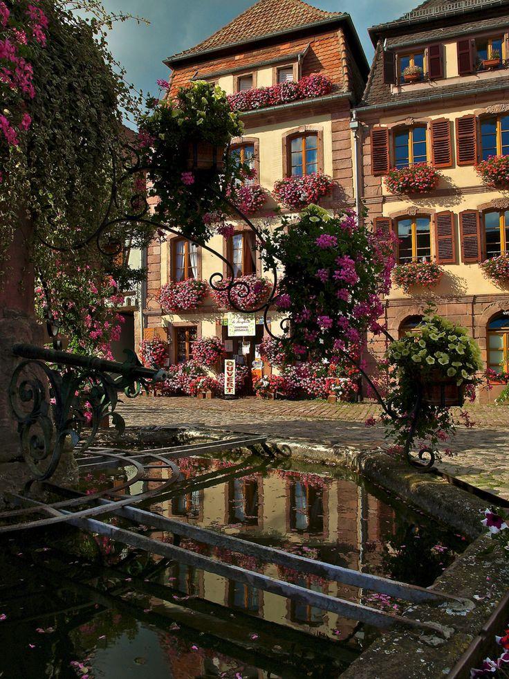 Bergheim, Alsace, France. c'est notre regionAlsace France, France Photos, Favorite Places, Bergheim, Luxury Travel, Beautiful Places, Village Fountain, French, Belle France