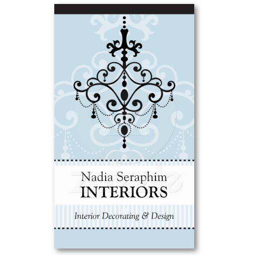 Business Card Elegant Chandelier Black Pale Blue Elegant