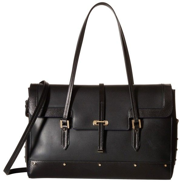 Oscar de la Renta Medium Satchel (Black) Satchel Handbags ($1,260) ❤ liked on Polyvore featuring bags, handbags, black, leather satchel handbags, real leather handbags, leather satchel, structured leather handbag and handbag satchel