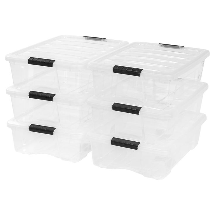 Amazon Com Iris Usa Inc Tb 42 12 Quart Stack Pull Box Clear 6 Stack And Pull Home Kitchen In 2020 Plastic Box Storage Plastic Storage Bins Fabric Storage