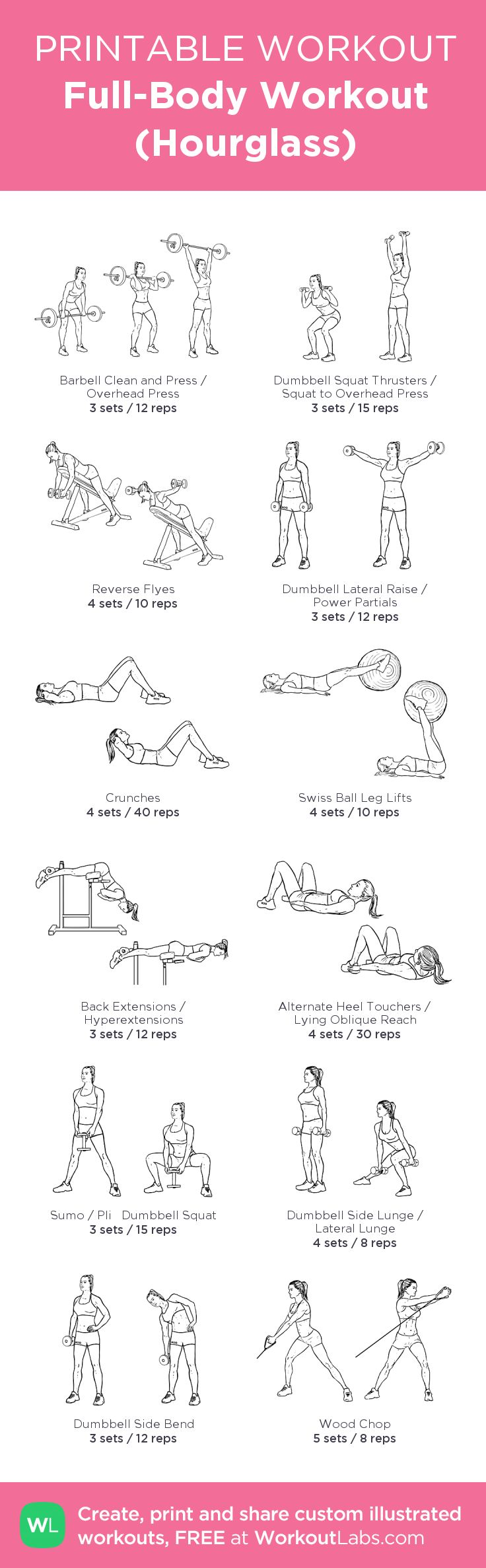 Full-Body Workout (Hourglass): my visual workout created at WorkoutLabs.com • Click through to customize and download as a FREE PDF! #customworkout