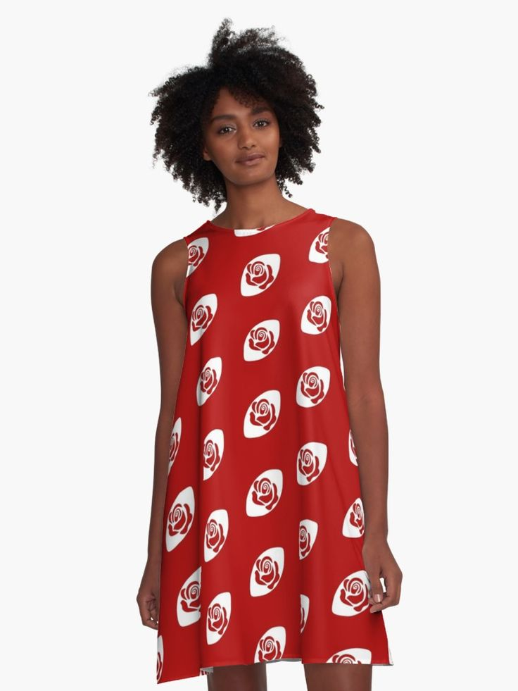 Rugby England A-Line dress by Fimbis Designs ________________________________ six nations, 6 nations, rugby, rose, red roses, english, graphic design, dresses, flowers, swing low, womens rugby, women's six nations, fashionista, english,