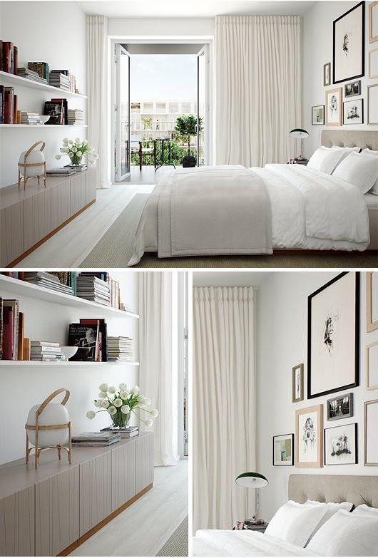 Härligt sovrum med gardiner längs hela väggen, från golv till tak!