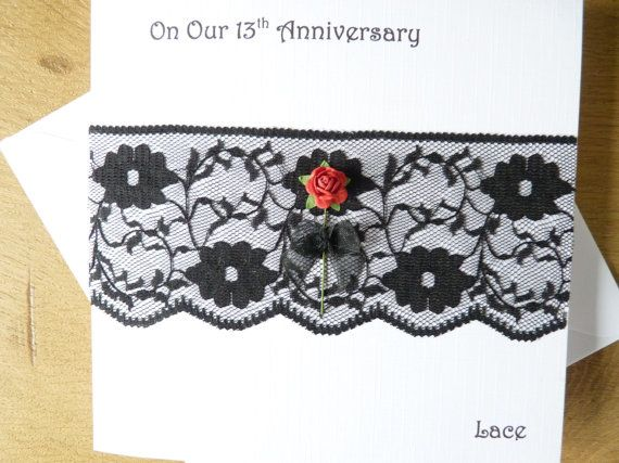 13th anniversary card lace wedding by DeshcaDesignsCards on Etsy