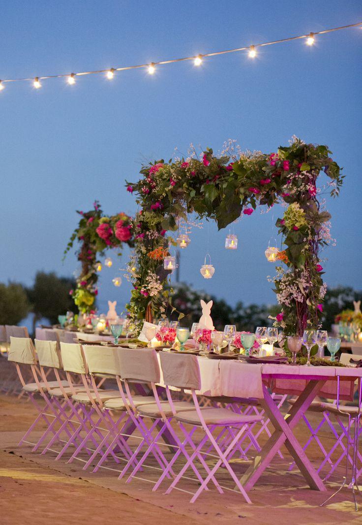 Romantic flower decoration Bunny Theme Christening - Baptism