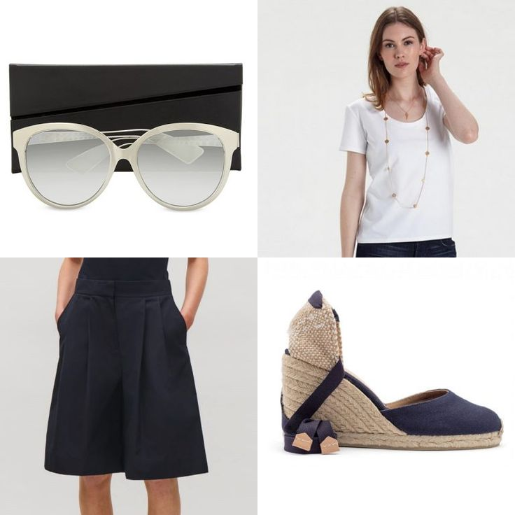 Staying Cool At Work. Curbing the heat and staying formal in workwear can always be tricky when it is this warm. Match our Deep Scoop Neck White T-Shirt with Cos's Pleated Wide Leg Shorts, Castener's Carina Marino Navy Blue Wedge, and Dior's Diorama2 Cat Eye-Frame Sunglasses in grey, to keep cool.