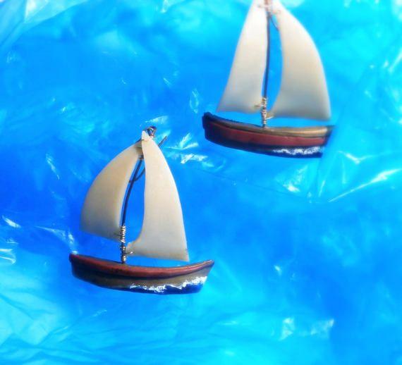 Sailboat earrings polymer clay boat earrings by Lijoux