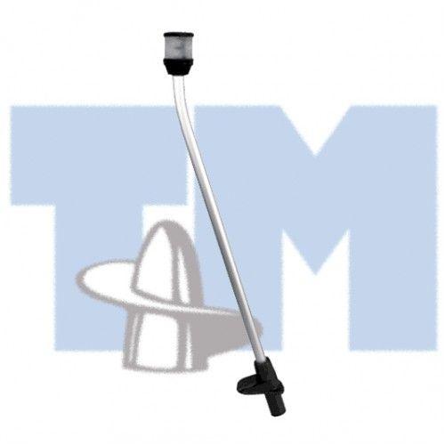 Огонь круговой на съемной стойке 610мм, черный корпус  Огни круговые на легкосъемной алюминиевой стойке. Высота 610 мм. Цвет огня - белый. Основание с фиксатором стойки и резиновой крышкой для защиты от влаги (стандарт водозащищенности IPX 6) при снятой стойке. Сертификация IMO COLREG, USCG, ABYC A-16, RINA(I). Дальность видимости 2 морские мили.  Цвет основания - черный;                 Свойства                      Дальность видимости, мили                     2…