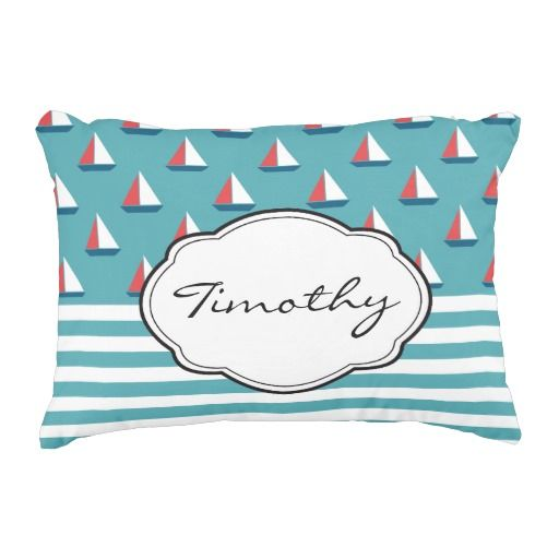 Editors' Pick as featured on Zazzle.   #Sailboat #Yacht #Personalize #Pillow #Home #Decor
