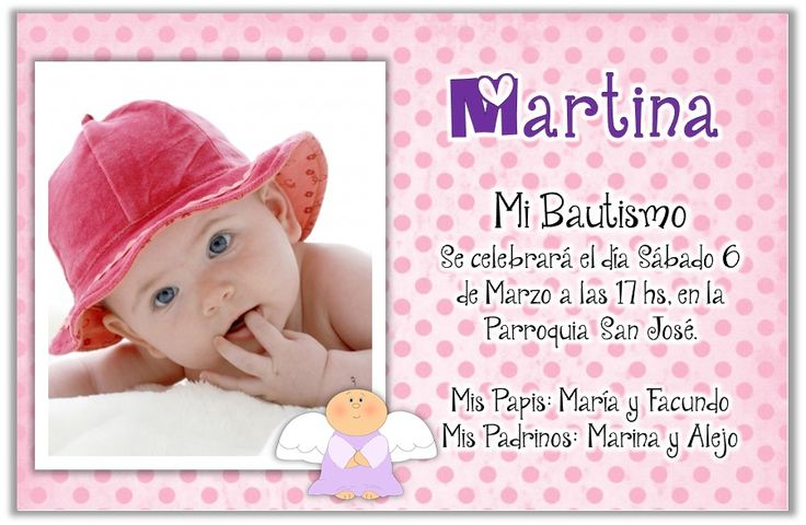 Invitaciones Bautismo Tarjetas Infantiles Con Foto