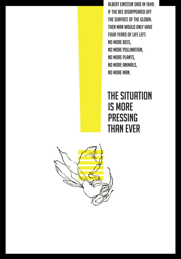 Save the Bees! Poster02 by Noemi Vagvolgyi via www.behance.net