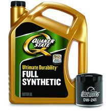 QUAKER STATE OIL CHANGE SPECIALS 5 Quarts of Quaker State Conventional, Defy High Mileage OR Full Synthetic Motor Oil AND a Driveworks Oil Filter from Advance Auto Parts $24.99