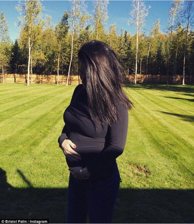 Growing belly: Republican abstainancy advocate Bristol Palin shared this photo of her second illegitimate pregnancy when she was six months pregnant. When she first announced she was expecting her second child, she referred to it as a 'disappointment'.  Maybe her mother should explain exactly what ABSTAIN means.